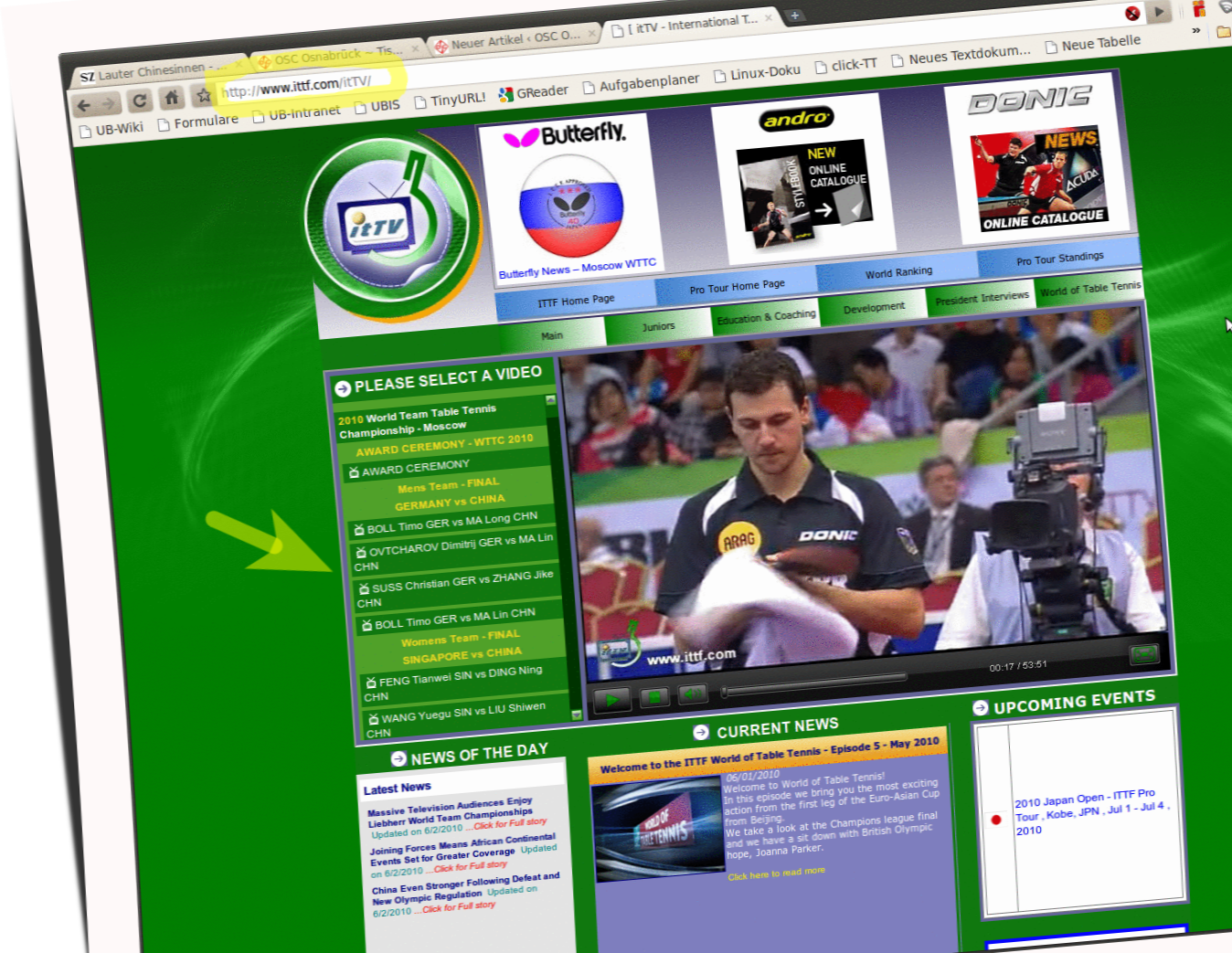 Screenshot ITTF-Website