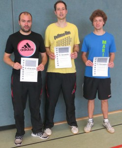 Sieger Herren offen und 1:  v.l.n.r. Justus Treubel, Jörg Kuhlmann und Marian von Oy