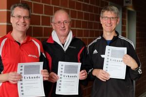 Die Einzelsieger in der Klasse Herren 3 (v.l.n.r.): Joachim Kruse, Mathias Eckardt, Johannes Welslau (TSG Burg Gretesch) (Foto: privat)